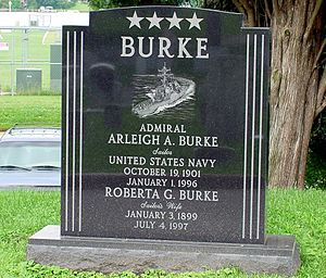 Arleigh Burke - Arleigh Burke's grave at the United States Naval Academy Cemetery