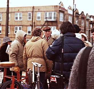 Atlantic City (1980 film) - Burt Lancaster on set of Atlantic City.  Director Louis Malle on left.