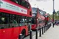 Buses waiting on Whitehall, London.jpg