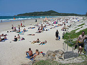 Byron Bay (Australia) main Beach from town
