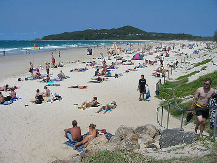 Byron Bay beach in northern New South Wales Byron Bay (Australia) main Beach from town.JPG