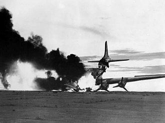 Douglas C-54 Skymaster - A USAF C-54 destroyed by North Korean fighters, 1950.