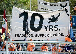 North Carolina FC - The Carolina RailHawks (now North Carolina FC) celebrated their 10 year anniversary in 2016. Credit: Rob Kinnan-Carolina RailHawks