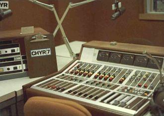 CHYR-FM - Combo announcer/news configuration, Talbot St. Studios, mid 1970s