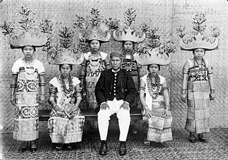 Lampung people - A group of dancing girls with distinguished headdress from Lampung in full regalia, 1929.