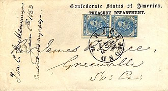 Postage stamps and postal history of the Confederate States - Confederacy Treasury Dept coverVarious departments of the Confederate government used envelopes which were printed with the names of their department. Examples where the words 'Official Business' occurs are common.