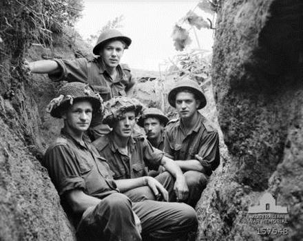 Men from the Royal Australian Regiment, June 1953 C Coy 2 RAR soldiers on The Hook Jun 1953 (AWM 157648).png