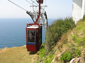 Doppelmayr Garaventa Group - Doppelmayr Cable-car at the Rosh HaNikra grottoes, Israel, claimed to be the steepest cable car in the world, with a 60 degrees gradient