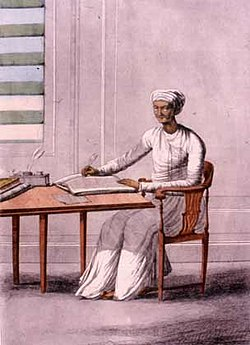 Late 18th century depiction by Frans Balthazar Solvyns of a scibe (munshi) which was the primary role of Karana
