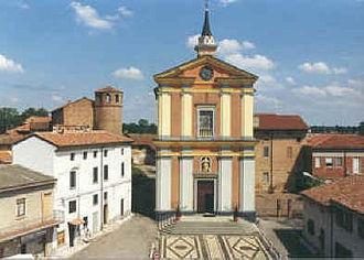 Conrad of Piacenza - The Church of Calendasco with the castle where St. Conrad was born in the background (left)