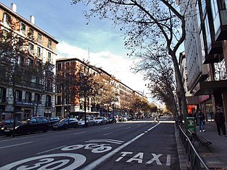 Cycling in Madrid - Carranza Street is an example of car-shared street (see in the middle lane the bicycle sign).
