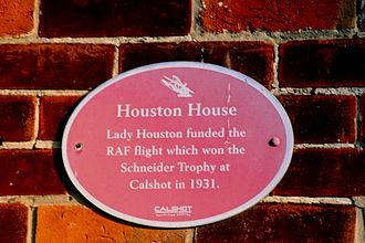 RAF Calshot - Plaque commemorating Lady Houston's funding for the 1931 RAF Schneider Trophy team.