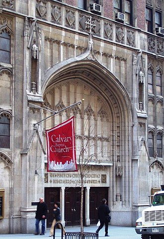 57th Street (Manhattan) - Calvary Baptist Church entrance at 123 West 57th Street