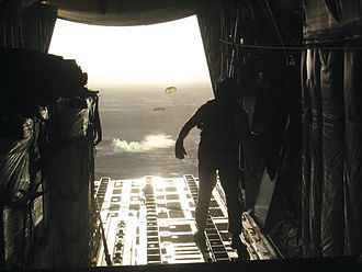 Operation Medusa - A Canadian C–130 drops containerized delivery system bundles in support of Operation Medusa
