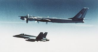 Canadian airspace - Canadian CF-18 escorts Soviet Tu-95 bomber, 1987