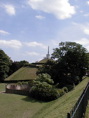 Canterbury city walls - Dane John Mound, site of first castle, seen from the walls