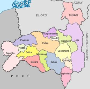 Loja Province - Image: Cantones de Loja