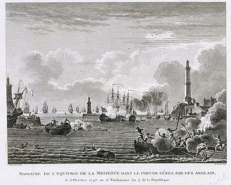 Raid on Genoa - Massacre de l'equipage de la Modeste, Nicolas Ozanne. NMM