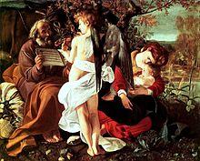 Caravaggio, Riposo durante la fuga in Egitto, 1594-1595 ca. Olio su tela, 135,5 × 166,5 cm. Roma, Galleria Doria Pamphilj.