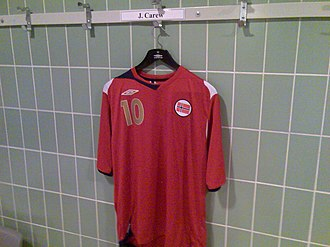 John Carew - John Carew's kit at the Norway national team. From the changing room at Ullevaal Stadion