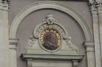 Charles XI of Sweden - Image of King Carl XI on a wall of Stockholm Palace.