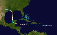 The track of Hurricane Carmen shown on a map of the southwestern Atlantic