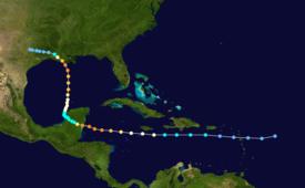 Die Spur des Hurrikans Carmen auf einer Karte des südwestlichen Atlantiks