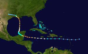 Hurricane Carmen - Image: Carmen 1974 track