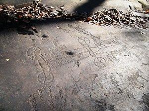 Horse-drawn vehicle - Petroglyph of a chariot in Parco nazionale delle incisioni rupestri di Naquane, Capo di Ponte.