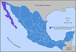 Tijuana Cartel - Areas predominately controlled by the Tijuana Cartel shown in purple.