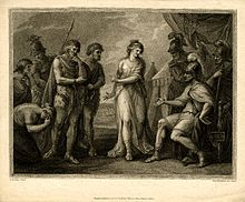 Caratacus, roi des Silures, livré au général romain, par Cartimandua, reine des Brigantes. Francesco Bartolozzi (publisher/printer; printmaker; Italian; British; Male; 1728 - 1815), first published by Susanna Vivares (publisher/printer; British; Female; 1781 - 1797; fl.).