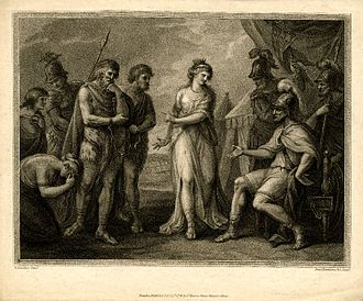 """Cartimandua - """"Caractacus, King of the Silures, deliver'd up to Ostorius, the Roman General, by Cartismandua, Queen of the Brigantes"""" – print by F. Bartolozzi, British Museum"""