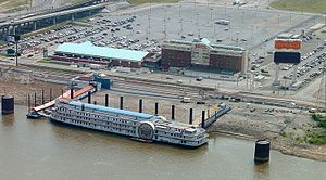 The Casino Queen, a riverboat casino located o...