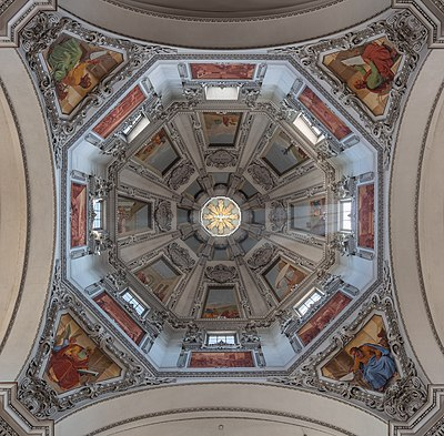 Central dome of Salzburg Cathedral, Austria.