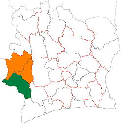 Location of Cavally Region (green) in Ivory Coast and in Montagnes District