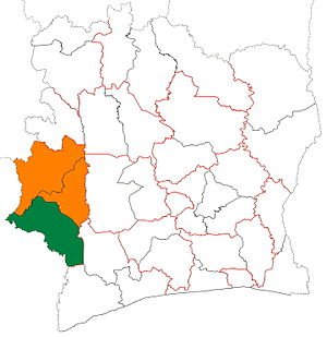 Cavally Region - Image: Cavally region locator map Côte d'Ivoire
