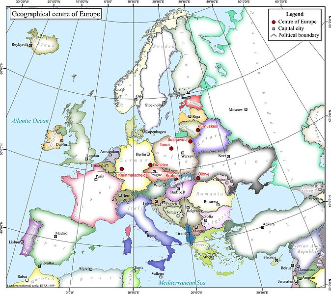 Just some of the various points where geographers have said is Europe's geographical center
