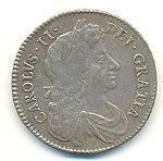Half-Crown of Charles II, 1683. The inscription reads CAROLUS II DEI GRATIA (Charles II by the Grace of God).
