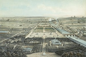 Jardin des Champs-Élysées - A view of the Jardin des Champs-Élysées in the 1860s, looking from the Rond-Point toward the Place de la Concorde