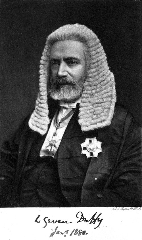 Photograph of Sir Charles Gavan Duffy in the regalia of a Knight, and Speaker of the Victorian Legislative Assembly, signed C Gavan Duffy, Jan 5 1880