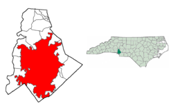 Charlotte's location in Mecklenburg County in the state of North Carolina