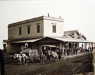 Buenos Aires Great Southern Railway - The Chascomús station in 1875.