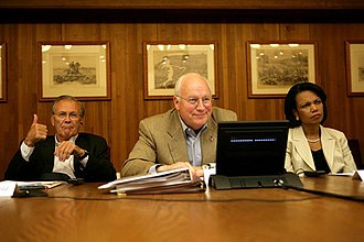 Condoleezza Rice - Cheney, Rice and Rumsfeld participate in a video conference with President Bush and Iraqi PM Maliki.