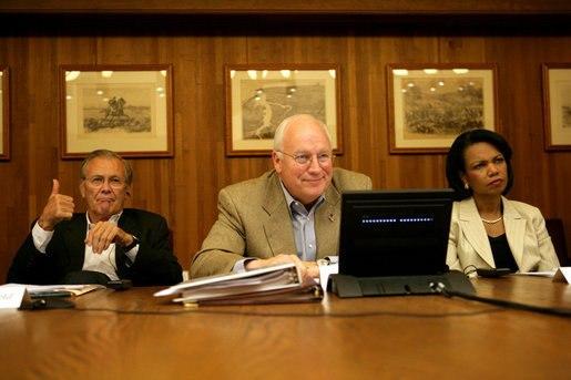 Cheney, Rumsfeld, and Rice in Camp David