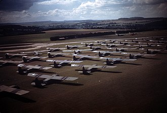 """RAF Chilbolton - Closeup of CG-4As marshalled at Chilbolton in early September 1944 ready to be used in Operation """"Market"""". Many of these gliders had been used in the 6 June D-Day invasion."""