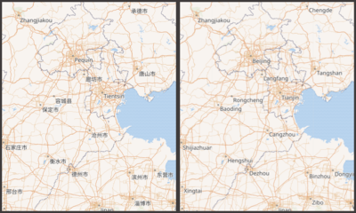 A map of China with the language set to display Catalan, at left, compared with English.