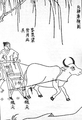 Seed drill - Chinese double-tube seed drill, published by Song Yingxing in the Tiangong Kaiwu encyclopedia of 1637.