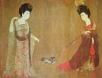 Companion dog - Court ladies playing with a small dog, Beauties Wearing Flowers by Tang Dynasty painter Zhou Fang