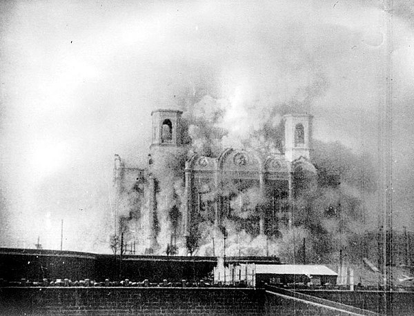 In establishing official atheism in the Soviet Union, Joseph Stalin ordered in 1931 the razing of the Cathedral of Christ the Saviour in Moscow Christ saviour explosion.jpg