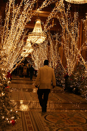 Christmas lights in the Roosevelt Hotel, New O...